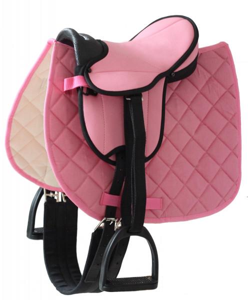 Sattel für Gartenpferd Susi von Helga Kreft, pink
